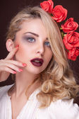 Beautiful blonde with professional make up — Stock Photo