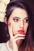 Sensual woman toned image studio shooting — Stock Photo