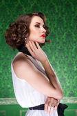 Sensual woman in retro room professional make up — Stock Photo