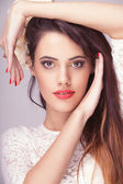 Beautiful woman professional make up toned image — Stock Photo