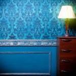 Vintage lamp in retro blue toned interior — Stock Photo #48831957
