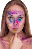 Gorgeous girl with fashion colour make up — Stock Photo