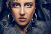 Beautiful woman toned image in gothic style — Stock Photo