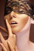 Fashion gold make up on sensual woman — Stock Photo