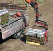Unloading Rolls of turf — Foto Stock