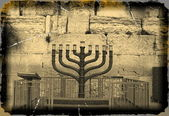 Vintage Jewish hanukkah candle-holder near Western wall, — Stock Photo