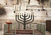 Jewish hanukkah candle-holder near Western wall — Stock Photo