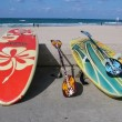 Surf boards on the beach — Stock Photo