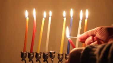 Ignition Chanukah candles — Stock Video