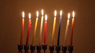 Brightly Lit Hanukkah Candles — Stock Video