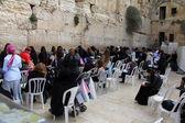 Jewish worshipers (women) pray at the Wailing Wall — Stock Photo