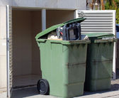 Green garbage cans — Stock Photo