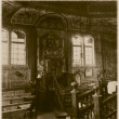 Retro photo of interior of  old wooden synagogue  in Grojec, Poland, early 19th century AD — Stock Photo