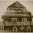 Stock Photo: Retro photo of old wooden synagogue in Olkeninki, Belarus, 18th century AD