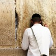 Unidentified young mpraying at Wailing wall (Western wall) — стоковое фото #22199403
