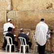 Unidentified jewish men are praying at the Wailing wall (Western wall) — Zdjęcie stockowe #22200177