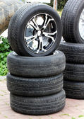 Rubber tires and wheel — Stock Photo