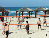 Group of young playing volleyball on the beach of Tel Baruch. Tel Aviv — Stock Photo
