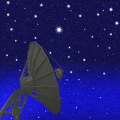 Satellite dishes at night starry sky background — Stock Photo