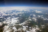 Switzerland and Austria as seen from an airplane window — Stock Photo