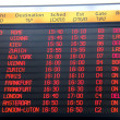 Flights departure information timetable in Ben Gurion International Airport  — Foto de Stock