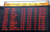 Flights departure information timetable in Ben Gurion International Airport — Stock Photo