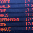Stock Photo: Flights departure information timetable