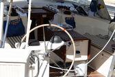 Rudder. Boat steering wheel — Stock Photo