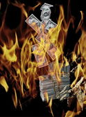 Money Burning in Flames — Stock Photo