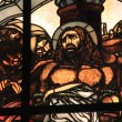 Stock Photo: Stained-glass window at Church of Flagellation and second station stop Jesus Christ on ViDolorosa