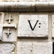 ViDolorosa. Trace hand of Jesus. fifth station stop Jesus Christ, who bore his cross to Golgoth. Jerusalem, Israel. — Stock Photo #38042287