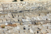 JERUSALEM, ISRAEL - DECEMBER 9,2013: Ancient Jewish cemetery on the Mount of Olives at winter — Stock Photo