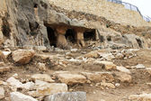 Ancient tomb caves at Kidron valley in Jerusalem, Israel — Stok fotoğraf