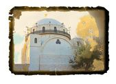 Hurva synagogue in grunge at sunset time , Jerusalem, Israel — Stock Photo