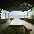 Seof Galilee. Stone table under canopy — Stock Photo #40133521