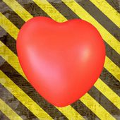 Red heart on grunge  hazard stripes — Stock Photo