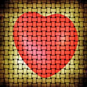 Abstract grunge beige yellow matting and red heart picture — Stock Photo