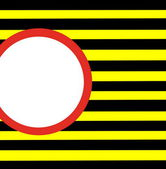 Red white circle  on y yellow and black  hazard stripes — Stock Photo