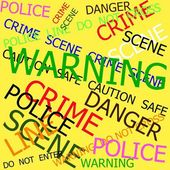 Warning, Caution, Crime, Police  signs on yellow background — ストック写真
