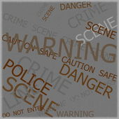 Warning, Caution, Crime, Police  signs on grunge background with old photo texture — Stock Photo