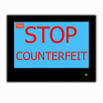 Постер, плакат: Slogan STOP COUNTERFEIT on television screen