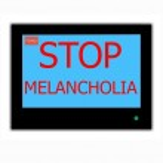 ������, ������: Slogan STOP MELANCHOLIA on television screen
