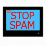 Постер, плакат: Slogan STOP SPAM on television screen