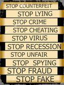 Set actual slogans written on a grunge ribbon on a white background — Stock Photo