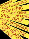 Set actual slogans written on yellow ribbon on a white background — Stock Photo