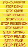 Set actual slogans written on a yellow ribbon on a white background — Stock Photo