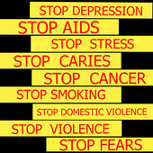 Set  of actual slogans written on yellow ribbon on black background — Stock Photo