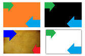 Set of colored backgrounds with two  horizontal arrows — Stock Photo