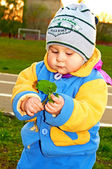 The kid looks at a grass, the herb — Stock Photo