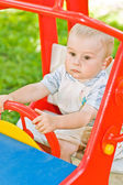 A small child is playing in the Playground — Stock Photo